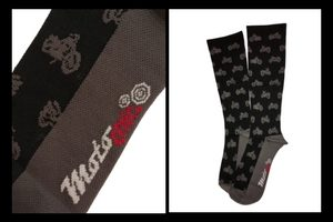 performance compression socks motorcycle pattern black