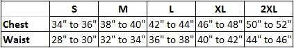 Mens T-shirt size chart