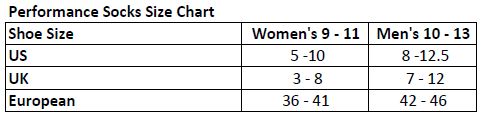 Motochic Socks size chart