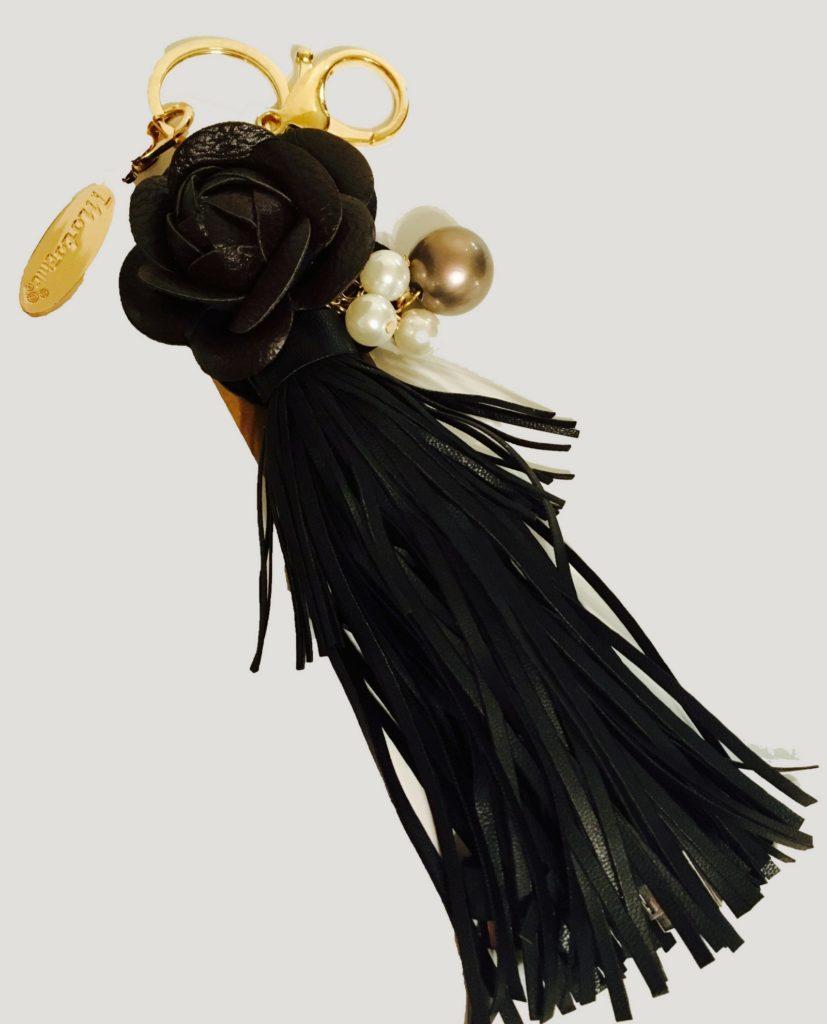 black flower tassel keychain USB charger