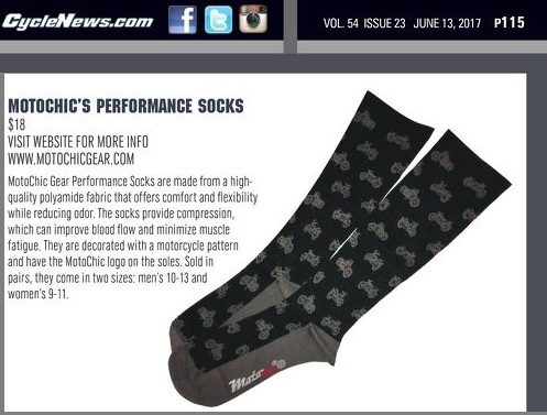 CycleNews.com June 13, 2017 Motochic's Performance Socks