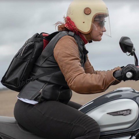 Kate on Ducati Scrambler