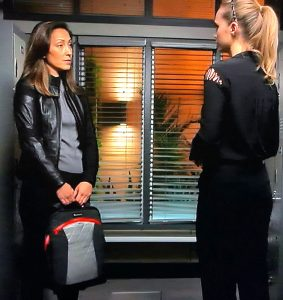 Good Doctor's Christina Chang with Lauren bag