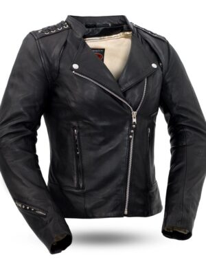 Black Widow Women's Leather Motorcycle Jacket